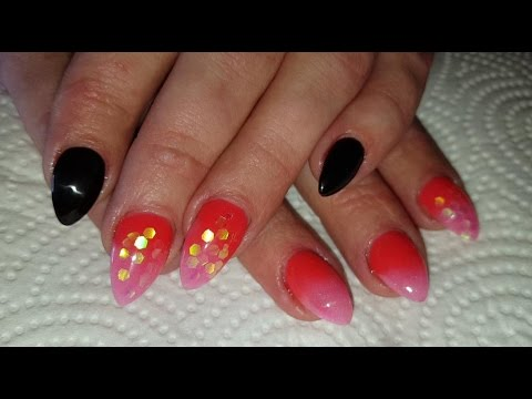 neon faded ombre nails almond shaped acrylic nail design
