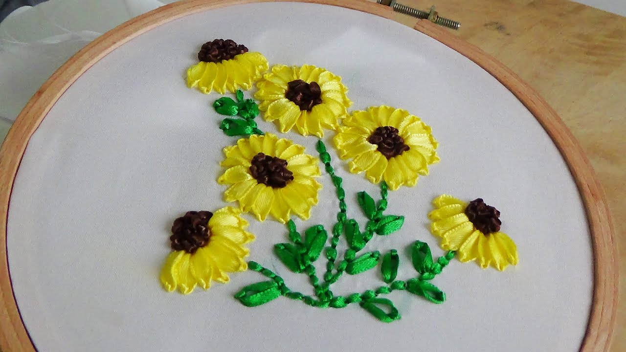 Hand Embroidery Sunflower