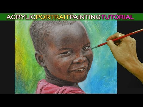 Acrylic Portrait Painting Tutorial of a Boy with Dark Skin Tone or African Child by JM Lisondra