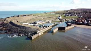 Off the east coast of Scotland Eyemouth fort and harbour with my mavic pro