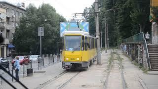 Львов, трамвай маршрут №3, Аквапарк - пл. Соборная, вид из кабины.