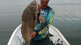Pesca jig sapinho: equipe Canoa furada Andre net pesca pirauna 8kg