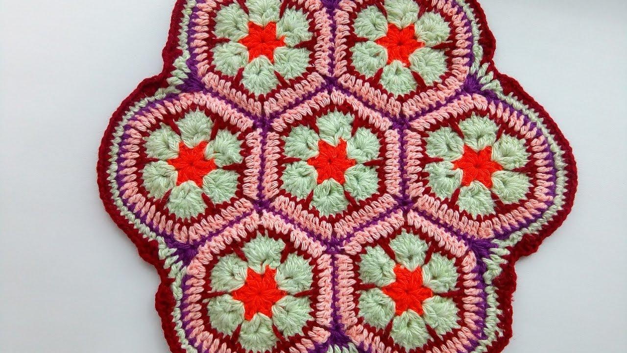a7c4089fb200 Сидушка на стул из мотивов. Африканский цветок. Вязание крючком для  начинающих.