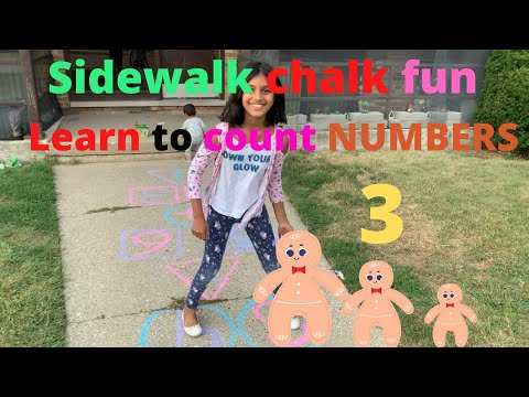 Learn numbers with Oviya Sidewalk Chalk play N learn Numbers | Learn to count numbers 1 to 10