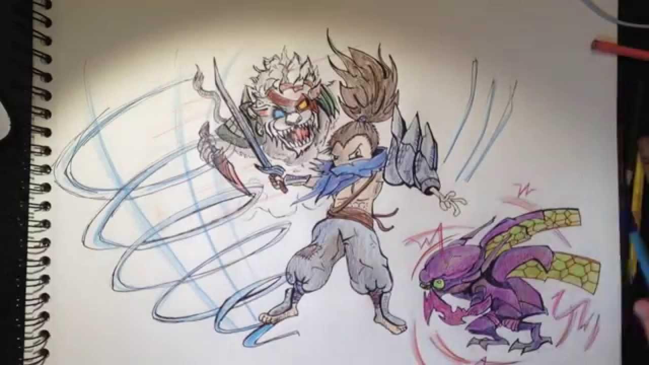 Dessiner un personnage cartoon niveau 2 kha 39 zix rengar yasuo youtube - Dessiner un ninja ...