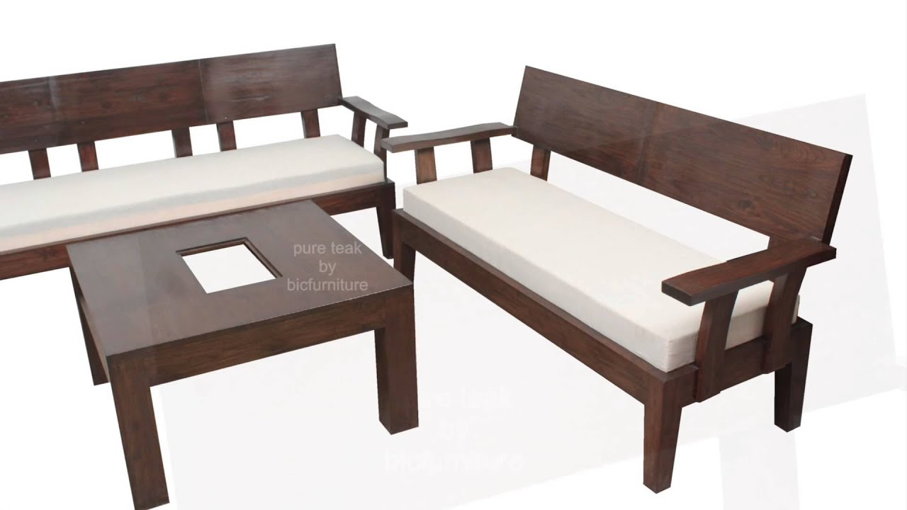 Stylish looking wooden sofa set for your living room for Wood furniture design sofa set