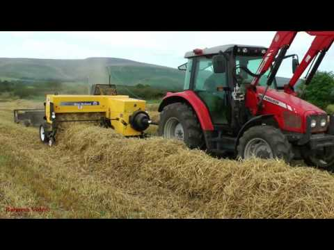 """Small Bale Baling with NEW New Holland Baler and """"Straight Eight"""" Sledge."""