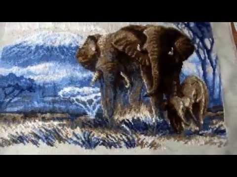 Слон в саванне вышивка