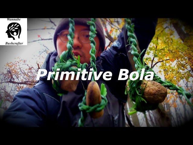 Primitive Bola (Boleadoras) Hunting Weapon with no tools!