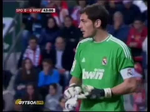 Sporting vs Real Madrid - 14th November 2010 - Iker Casillas saves a newspaper attack