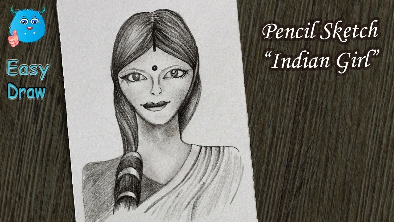 9416d73c6c How to Draw a Girl for Beginners Step by Step (Indian Girl Pencil Sketch)