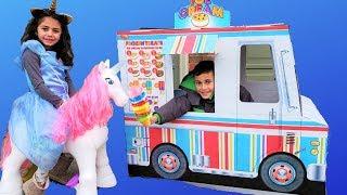 Heidi Buy Ice Cream from the Ice Cream Truck Ride On Toy Unicorn