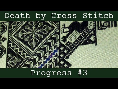 Flosstube | DEATH BY CROSS STITCH #3 | Cross Stitch Time Lapse | Monogamous Maynia