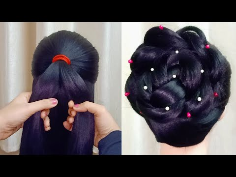 new-high-bun-hairstyle-for-gown-|-trending-hairstyle-|-party-hairstyle-|-wedding-hairstyles