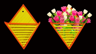 How to Make A Beautiful Wall Hanging Paper Flower Holder - HD