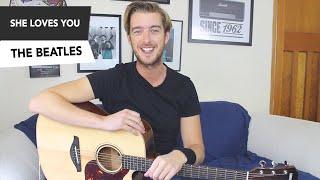 The Beatles - She Loves You Guitar Lesson Tutorial - Easy Beginner Guitar Song