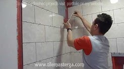 "Part ""3"" Shower wall Tile installation DIY - How to Install shower surround tiles"