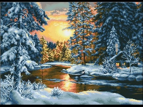 Вышивка крестом. Гобелен Зимний пейзаж от Luca-S.