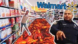 FLOOR IS LAVA CHALLENGE IN WALMART! *angry security* 😡