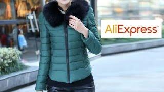 Видео-обзор с Aliexpress - Женская куртка зелёного цвета с чёрным мехом