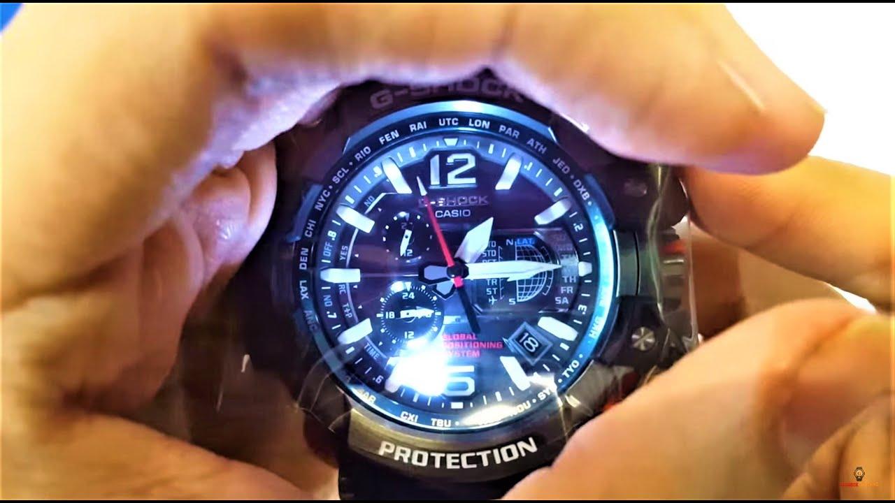 c988e4b371a Casio G-Shock Gravity Master Hybrid GPS Black Blue GPW-1000-1A unboxing