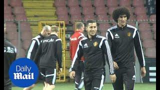 Marouane Fellaini and Eden Hazard training with Belgium - Daily Mail