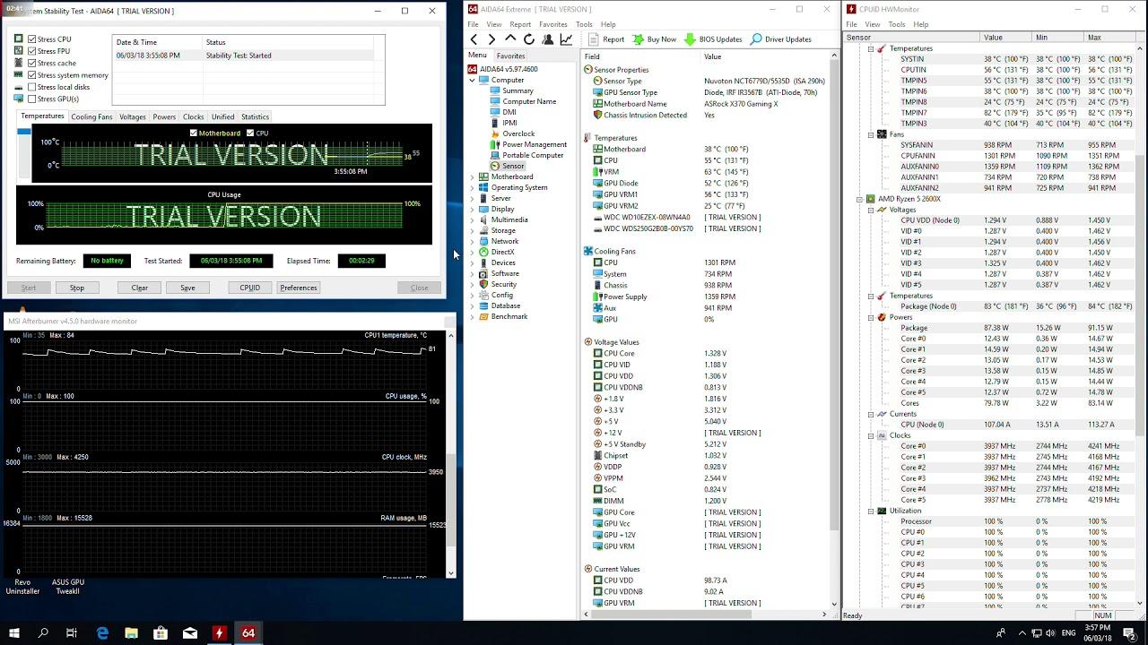 AMD Ryzen 5 2600X @Stock | System Stability Test- AIDA64