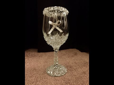 Crushed Glass Wine Glass ~DIY