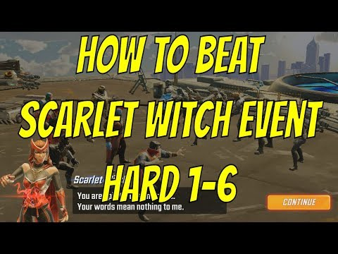 How To Beat Scarlet Witch Nexus Guardian Event Hard 1-6 - Marvel Strike Force