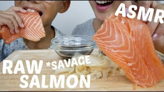 RAW WHOLE SALMON Sashimi | ASMR *NO Talking Savage Eating Sound | N.E Let's Eat