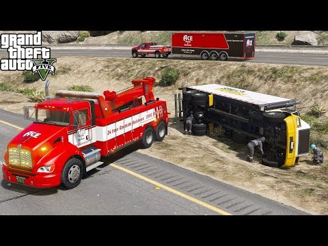 GTA 5 Real Life Mod #173 Kenworth T440 Heavy Duty Tow Truck Wrecker Towing A Rolled Over Box Truck