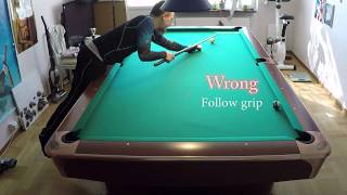 Part #1 - Secret grip for DRAW and FOLLOW (holding cue in pool for maximum spin in stroke)