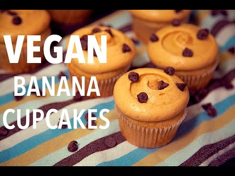 """Vegan Banana Cupcakes (with Peanut Butter """"Cream Cheese"""" Frosting)"""