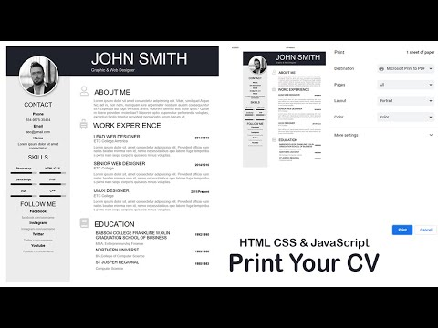 How To Create Your CV With Print Button Using HTML CSS & JavaScript