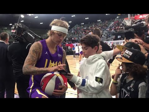 Justin Bieber at NBA All-Star Celebrity Game playing basketball in Los Angeles - February 16, 2018