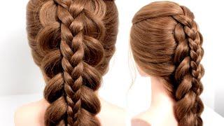 Прическа в школу на длинные волосы Легкая и быстрая прическа Прическа с плетением