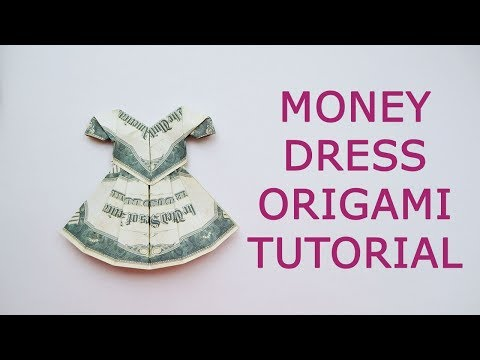 GIFT FOR HER Money DRESS (Blouse And Skirt) Origami 2 Dollar Tutorial DIY Folded No Glue