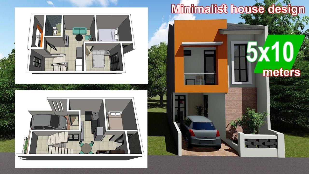 Rumah Minimalis 5 X 10 Meter + Interior Design - YouTube