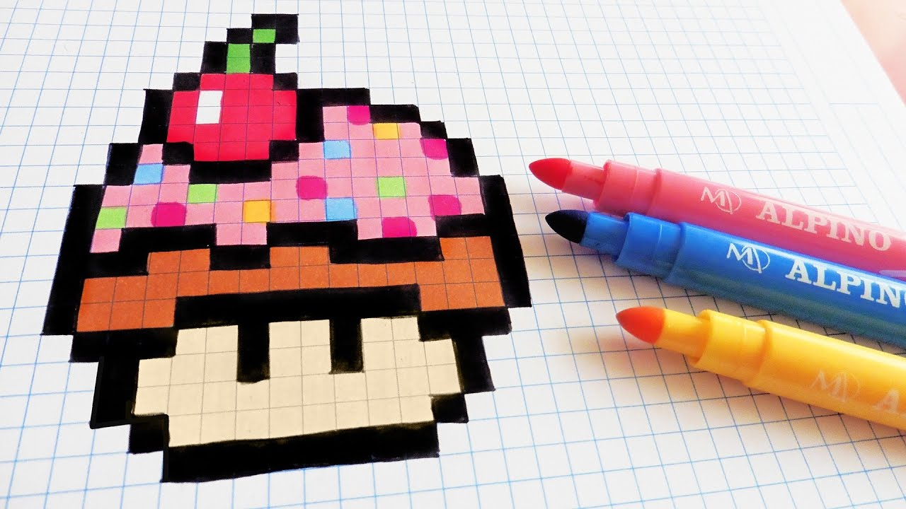 Handmade Pixel Art How To Draw Cupcake Mushroom Pixelart