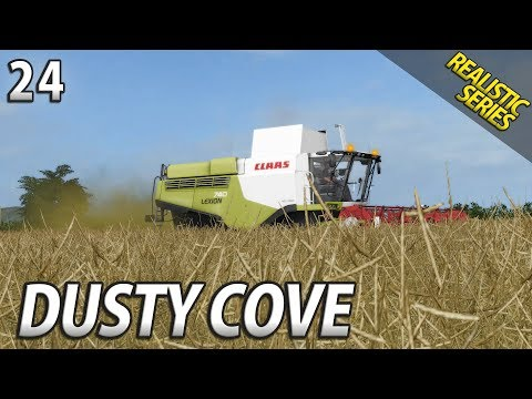 THE COMBINE IS ROLLING | Realistic Farming Simulator 17 | Dusty Cove | Day 24