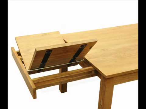 table de repas rectangulaire ouverture des rallonges youtube. Black Bedroom Furniture Sets. Home Design Ideas