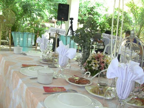 DEWAYNE AND LOVELYMAE RECEPTION AREA IN THEIR GARDEN WEDDING EXPAT PHILIPPINES