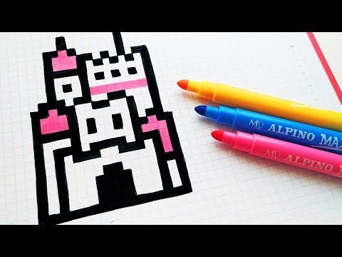 Handmade Pixel Art - How To Draw a Castle #pixelart