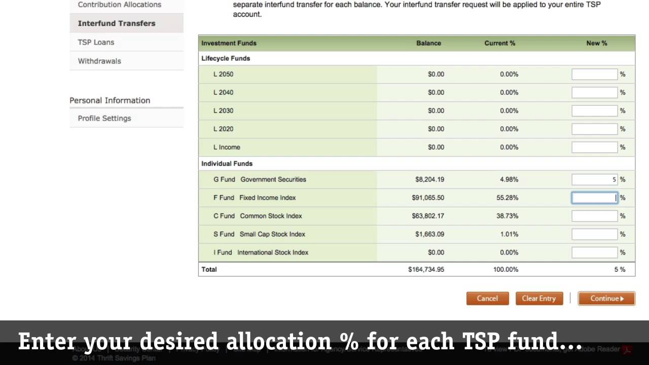 How to request a TSP Interfund Transfer (IFT) on tsp gov