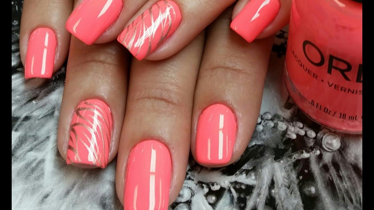 Neon Nail Art Coral Youtube