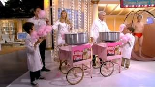 Holly is scared of candy floss machine and sprays