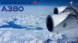 Air France Airbus A380, Arctic route, Paris CDG - Los Angeles LAX [FULL FLIGHT] + Lightning strike