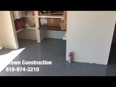 Van Nuys Epoxy Garage Floor by Crown Construction 818-974-3210