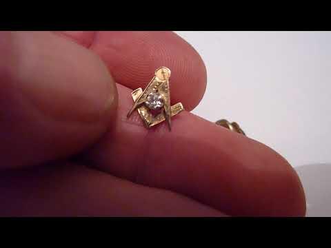 Unusual Antique 9 Carat Gold & Diamond Masonic Stick/Tie Pin