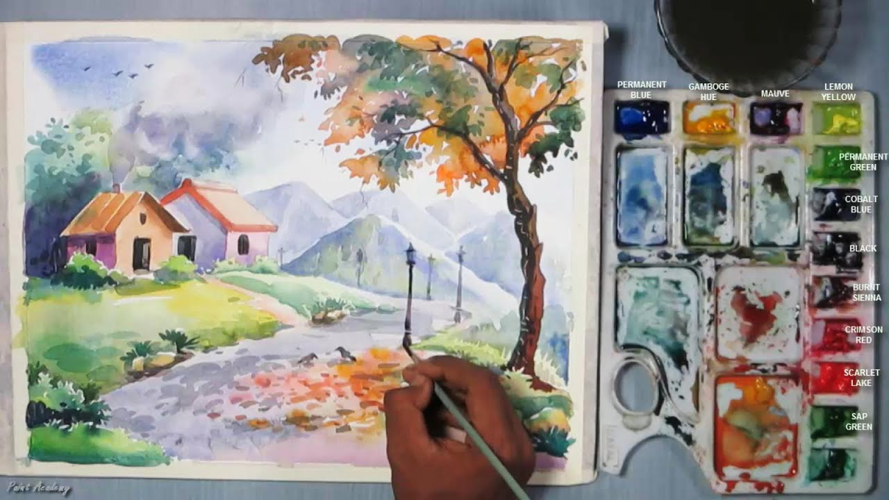 Drawing landscapes for beginners easy landscape drawing drawing - How To Paint A Beautiful Scenery In Watercolor Step By